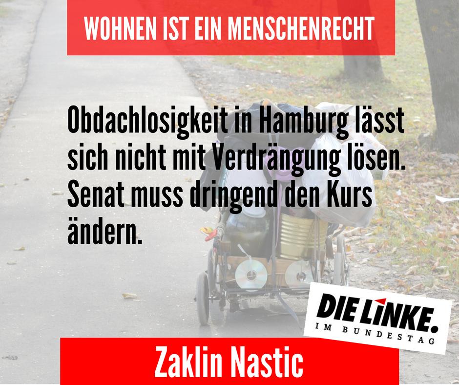 Obdachlosigkeit in Hamburg lässt sich nicht mit Verdrängung lösen – Senat muss dringend den Kurs ändern